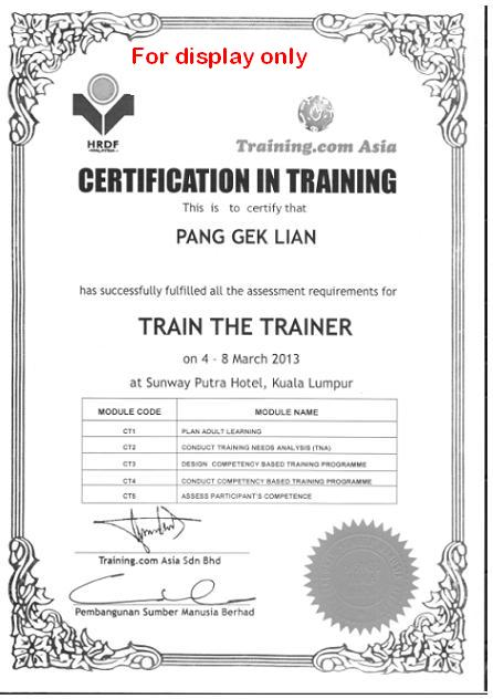 HRDF / PSMB Train The Trainer certificate